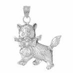 Sterling Silver Kitty Cat Pendant (Rhodium, Yellow or Rose Gold-plated)