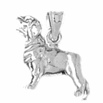 Sterling Silver Labrador Dog Pendant (Rhodium, Yellow or Rose Gold-plated)