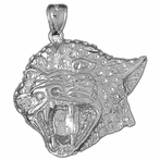 Sterling Silver Leopard Head Pendant (Rhodium, Yellow or Rose Gold-plated)