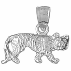 Sterling Silver Leopard Pendant (Rhodium, Yellow or Rose Gold-plated)