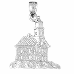Sterling Silver Lighthouse Pendant (Rhodium, Yellow or Rose Gold-plated)