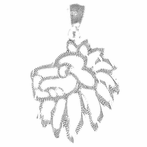Sterling Silver Lion Head Pendant (Rhodium, Yellow or Rose Gold-plated)