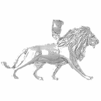 Sterling Silver Lion Pendant (Rhodium, Yellow or Rose Gold-plated)