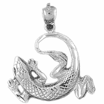 Sterling Silver Lizard Pendant (Rhodium, Yellow or Rose Gold-plated)