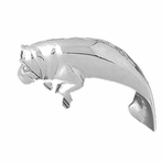 Sterling Silver Manatee Pendant (Rhodium, Yellow or Rose Gold-plated)