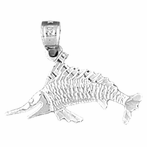 Sterling Silver Marlin Pendant (Rhodium, Yellow or Rose Gold-plated)