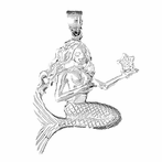 Sterling Silver Mermaid Pendant (Rhodium, Yellow or Rose Gold-plated)