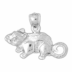 Sterling Silver Mouse Pendant (Rhodium, Yellow or Rose Gold-plated)