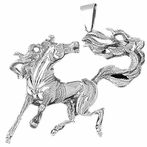 Sterling Silver Mustang Pendant (Rhodium, Yellow or Rose Gold-plated)