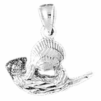 Sterling Silver Otter Pendant (Rhodium, Yellow or Rose Gold-plated)