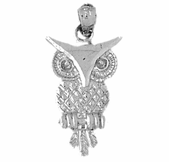 Jewels Obsession Owl Necklace Rhodium-plated 925 Silver Owl Pendant with 30 Necklace