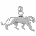 Sterling Silver Panther Pendant (Rhodium, Yellow or Rose Gold-plated)
