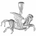 Sterling Silver Pegasus Pendant (Rhodium, Yellow or Rose Gold-plated)