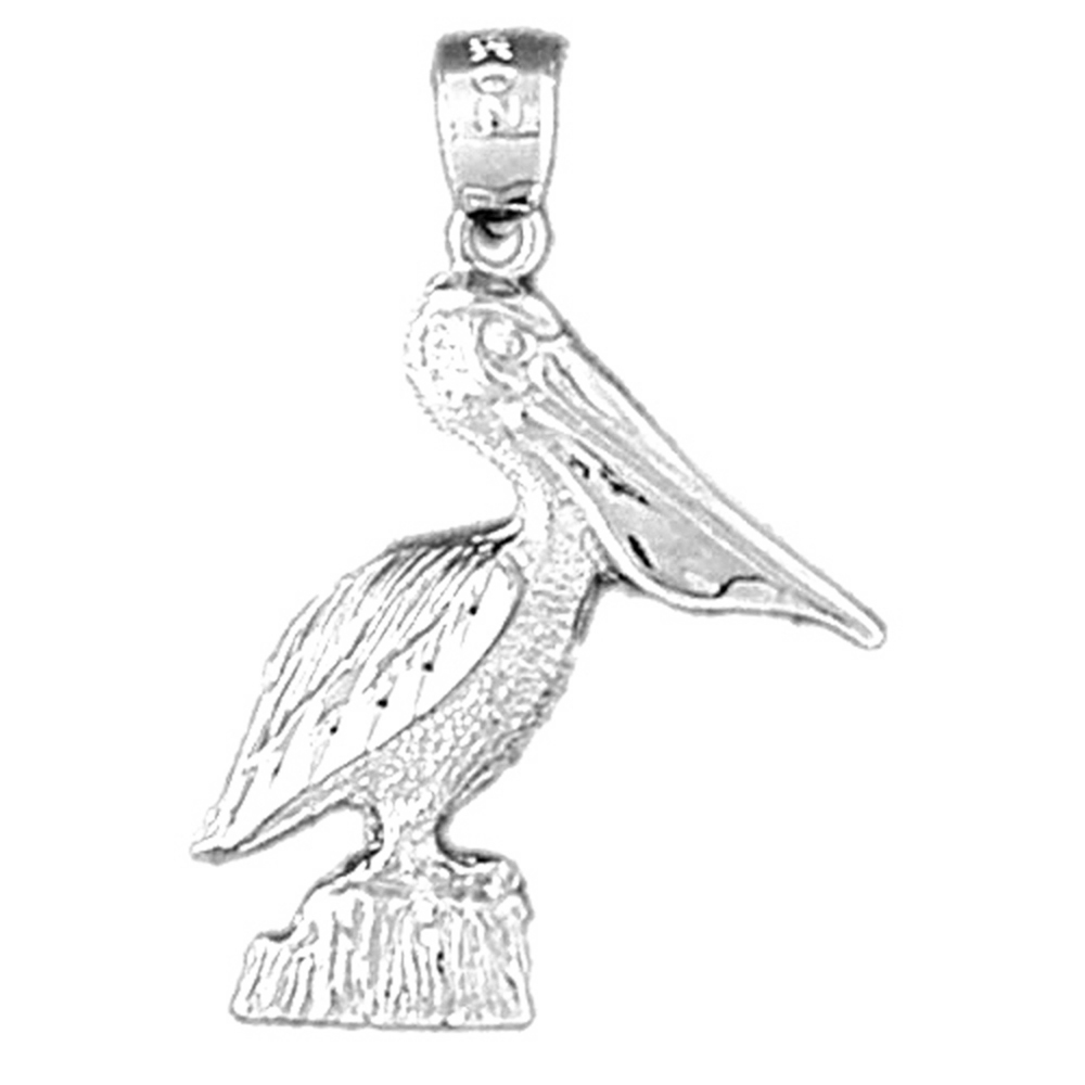 Jewels Obsession Pelican Pendant 30 mm Sterling Silver 925 Pelican Pendant