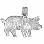 Sterling Silver Pig Pendant (Rhodium, Yellow or Rose Gold-plated)