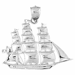 Sterling Silver Pirate Ship Pendant (Rhodium, Yellow or Rose Gold-plated)