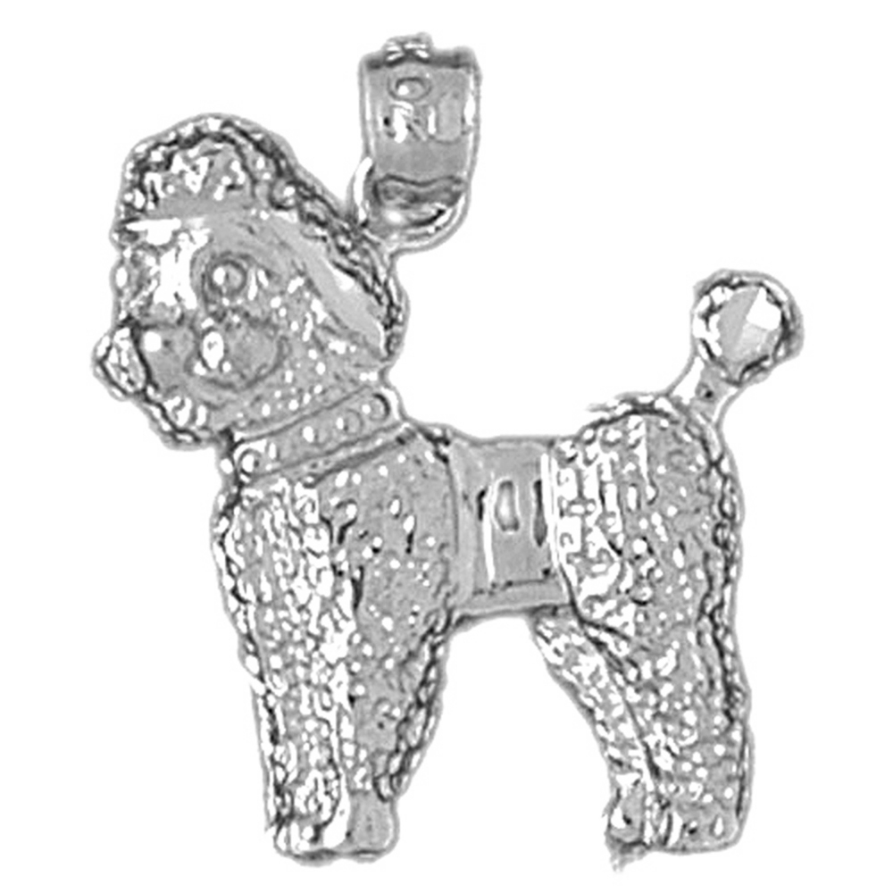 14K Yellow Gold-plated 925 Silver Poodle Dog Pendant Jewels Obsession Silver Poodle Dog Pendant