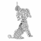 Sterling Silver Poodle Dog Pendant (Rhodium, Yellow or Rose Gold-plated)