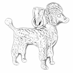 Sterling Silver Poodle Pendant (Rhodium, Yellow or Rose Gold-plated)