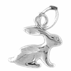 Sterling Silver Rabbit Pendant (Rhodium, Yellow or Rose Gold-plated)