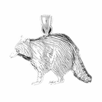 Sterling Silver Racoon Pendant (Rhodium, Yellow or Rose Gold-plated)
