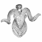 Sterling Silver Ram Pendant (Rhodium, Yellow or Rose Gold-plated)