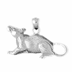 Sterling Silver Rat Pendant (Rhodium, Yellow or Rose Gold-plated)