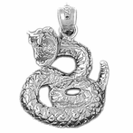 Sterling Silver Rattle Snake Pendant (Rhodium, Yellow or Rose Gold-plated)