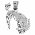 Sterling Silver Rodeo Horse Pendant (Rhodium, Yellow or Rose Gold-plated)