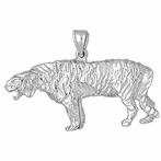 Sterling Silver Sabre Tooth Tiger Pendant (Rhodium, Yellow or Rose Gold-plated)