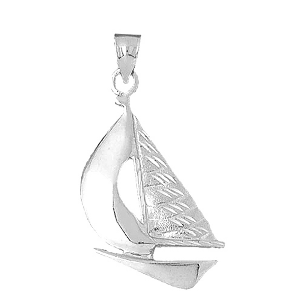 Jewels Obsession 14K Yellow Gold Sailboat Pendant 29 mm