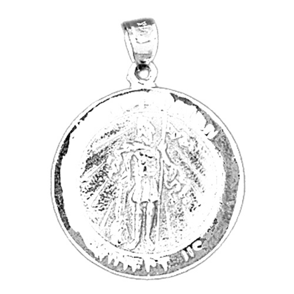 Sterling silver 925 saint florian coin pendant sterling silver sterling silver saint florian coin pendant rhodium yellow rose or black gold plated aloadofball Image collections