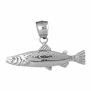 Sterling Silver Salmon Pendant (Rhodium, Yellow or Rose Gold-plated)