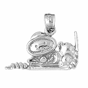 Sterling Silver Scuba Diver Pendant (Rhodium, Yellow or Rose Gold-plated)