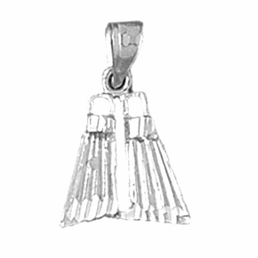 Sterling Silver Scuba Finns Pendant (Rhodium, Yellow or Rose Gold-plated)