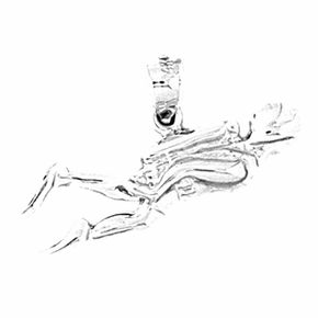 Sterling Silver Scuba Man Pendant (Rhodium, Yellow or Rose Gold-plated)