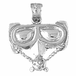 Sterling Silver Scuba Mask Pendant (Rhodium, Yellow or Rose Gold-plated)