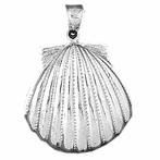 Sterling Silver Sea Shell Pendant (Rhodium, Yellow or Rose Gold-plated)
