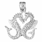 Sterling Silver Seahorse 3D Pendant (Rhodium, Yellow or Rose Gold-plated)