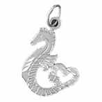 Sterling Silver Seahorse Pendant (Rhodium, Yellow or Rose Gold-plated)