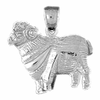 Sterling Silver Sheep Pendant (Rhodium, Yellow or Rose Gold-plated)