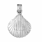 Sterling Silver Shell Pendant (Rhodium, Yellow or Rose Gold-plated)