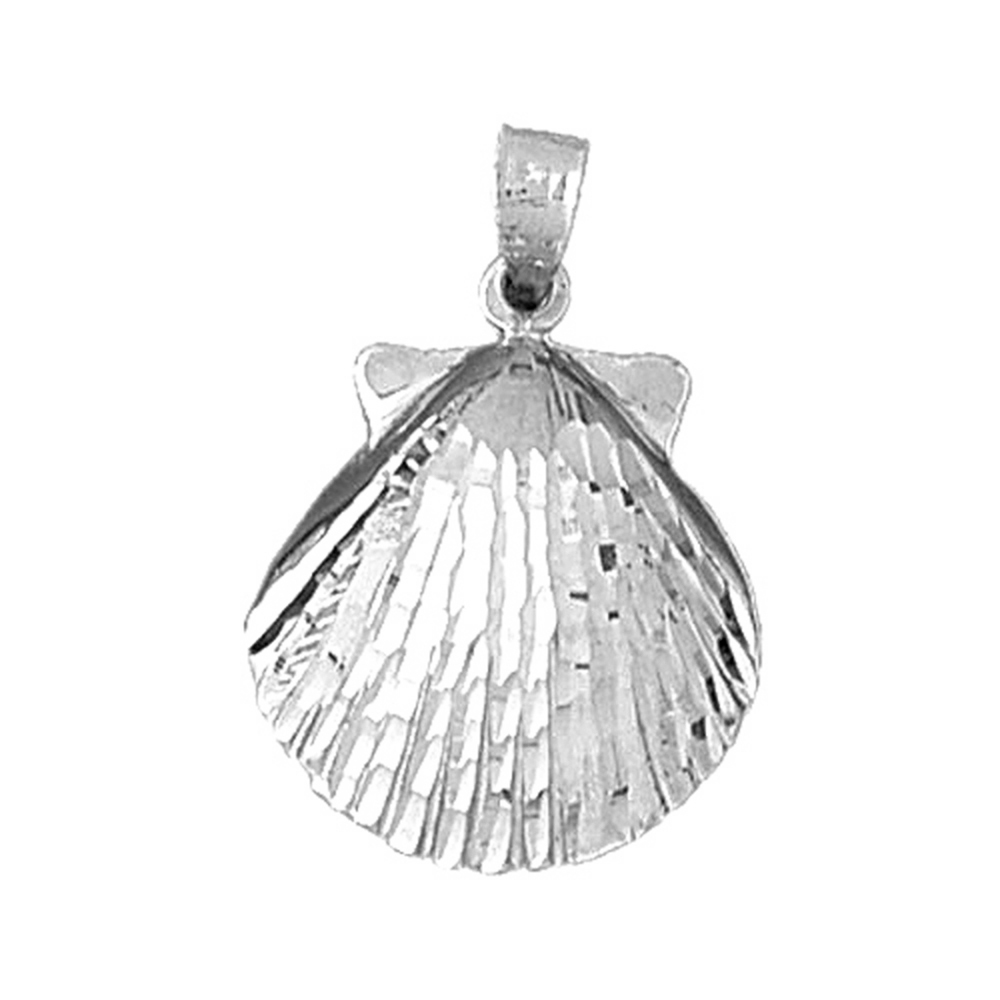14K Yellow Gold-plated 925 Silver Shell Pendant Jewels Obsession Silver Shell Pendant