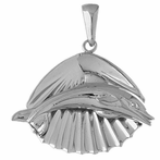 Sterling Silver Shell With Dolphin Pendant (Rhodium, Yellow or Rose Gold-plated)