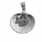 Sterling Silver Shell With Fish Pendant (Rhodium, Yellow or Rose Gold-plated)
