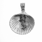 Sterling Silver Shell With Mermaid Pendant (Rhodium, Yellow or Rose Gold-plated)