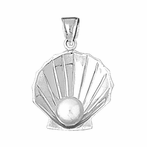 Sterling Silver Shell With Pearl Pendant (Rhodium, Yellow or Rose Gold-plated)