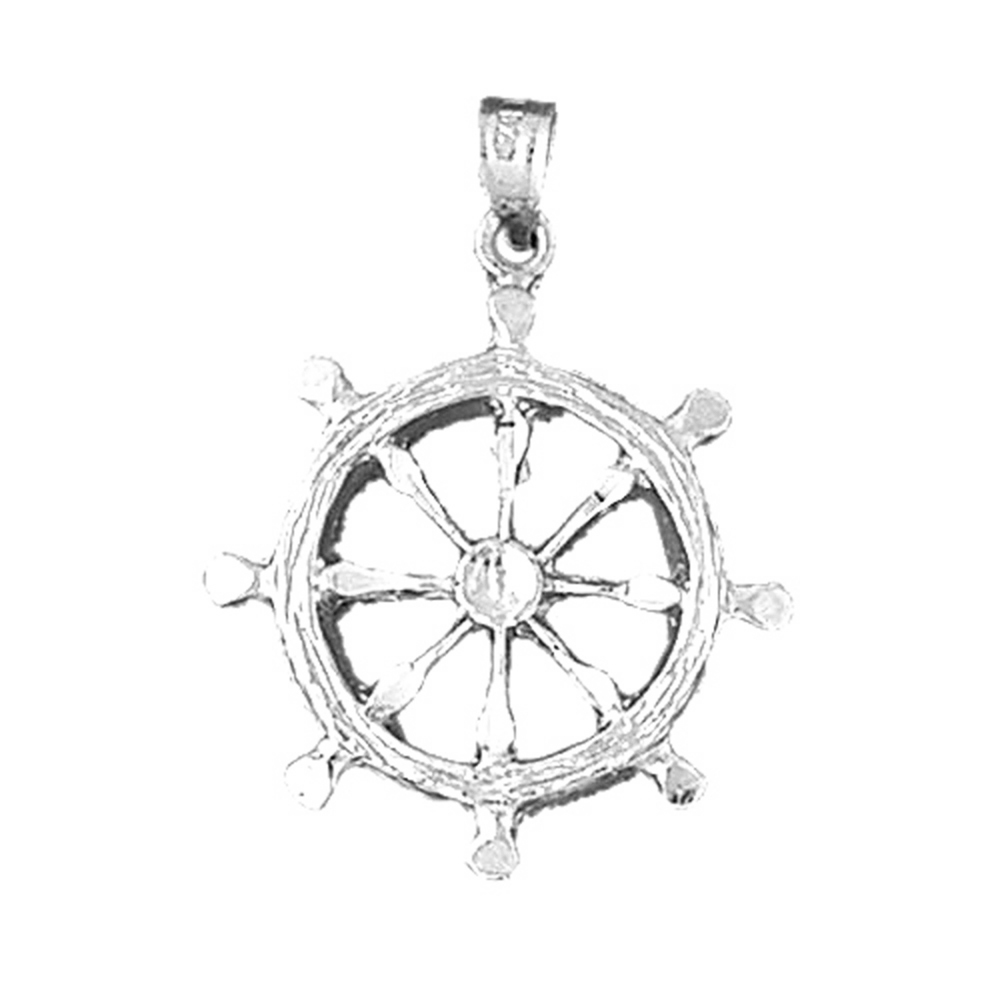 Silver Yellow Plated Ships Wheel Pendant 25mm