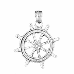 Sterling Silver Ships Wheel Pendant (Rhodium, Yellow or Rose Gold-plated)