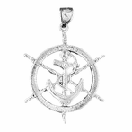 Sterling Silver Ships Wheel With Anchor Pendant (Rhodium, Yellow or Rose Gold-plated)